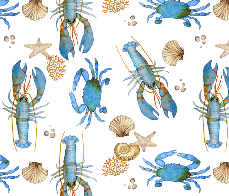 Lobster and Crab  Bisque fabric by golders on Spoonflower - custom fabric
