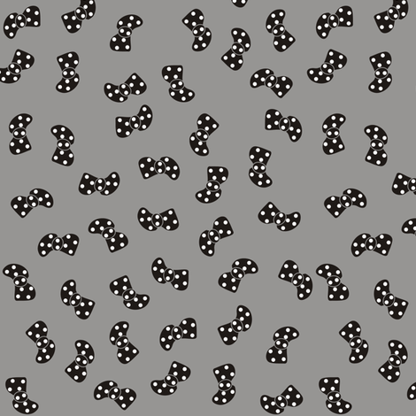 Black Bowtie on Grey fabric by smuk on Spoonflower - custom fabric