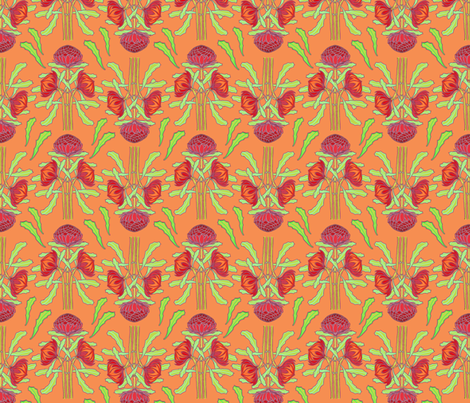 Spring waratahs on apricot fabric by su_g on Spoonflower - custom fabric