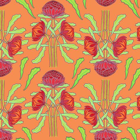Spring waratahs on apricot by Su_G fabric by su_g on Spoonflower - custom fabric