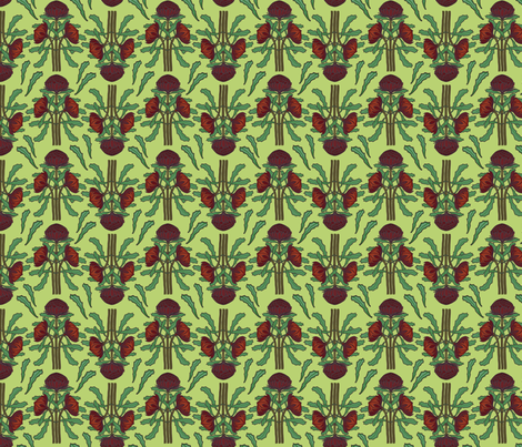 Dark red waratahs on new grass, small fabric by su_g on Spoonflower - custom fabric