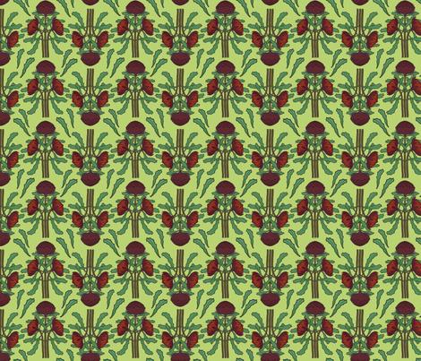 Dark red waratahs on new grass, small fabric by su_g on Spoonflower - custom fabric
