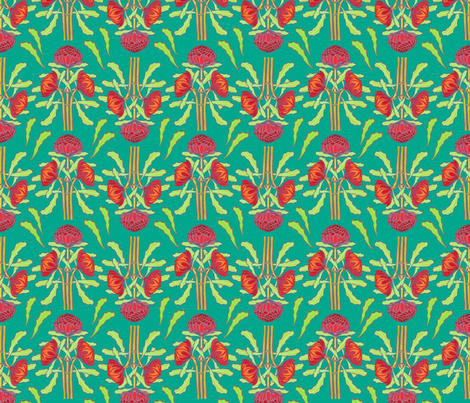 Spring waratahs on emerald green fabric by su_g on Spoonflower - custom fabric