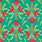 Spring waratahs on emerald green