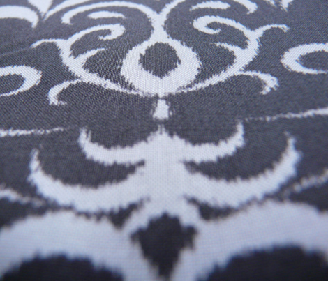ikat damask large - black and white