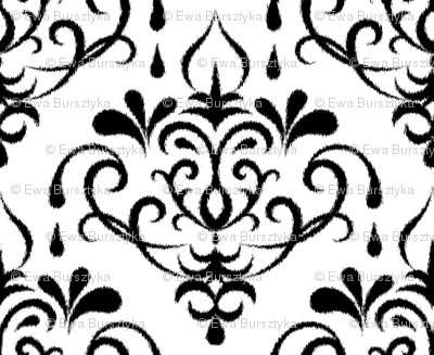 ikat damask large - white and black