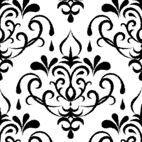 ikat damask large - white and black fabric by ravynka on Spoonflower - custom fabric