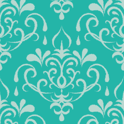 ikat damask large - turquoise and mint fabric by ravynka on Spoonflower - custom fabric