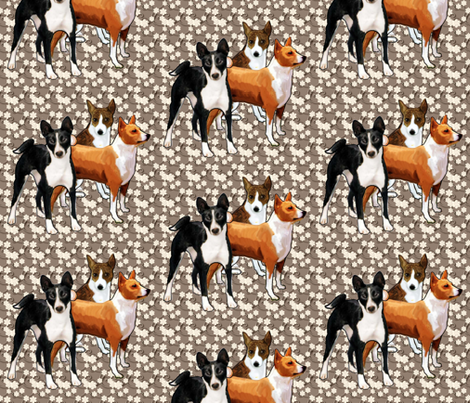 three basenji dogs fabric by dogdaze_ on Spoonflower - custom fabric