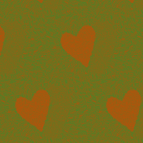 heart electric - orange & green fabric by materialsgirl on Spoonflower - custom fabric