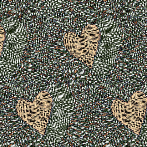 heart electric - mosaic - peach, blue, grey, Valentine Heart fabric by materialsgirl on Spoonflower - custom fabric