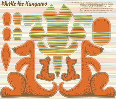 Wattle the Kangaroo fabric by cjldesigns on Spoonflower - custom fabric