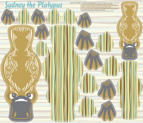 Sydney the Platypus fabric by cjldesigns on Spoonflower - custom fabric