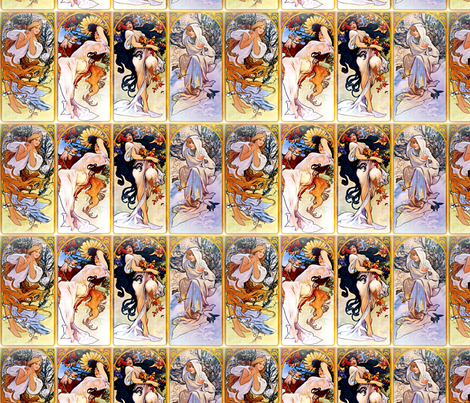 Alfons Mucha Four Seasons fabric by mandamacabre on Spoonflower - custom fabric