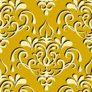 ikat damask large - gold w/ shadow