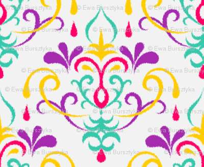 Ikat damask large - multicolor