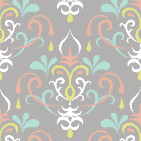 ikat damask large - pastel fabric by ravynka on Spoonflower - custom fabric
