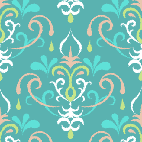 Ikat damsk large - pastel teals fabric by ravynka on Spoonflower - custom fabric