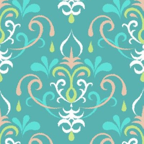 Ikat damsk large - pastel teals