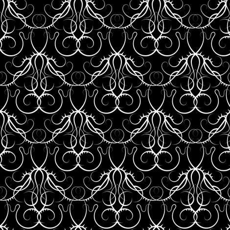 gothic scrolls - black and white fabric by ravynka on Spoonflower - custom fabric
