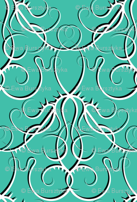 gothic scrolls turquoise w/ shadow