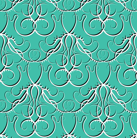 gothic scrolls turquoise w/ shadow fabric by ravynka on Spoonflower - custom fabric