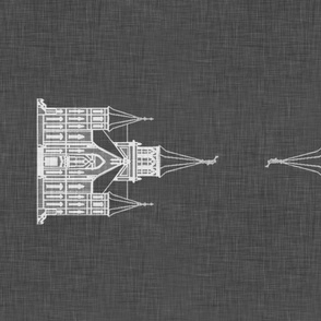 Provo City Center Temple -Tea Towel on Grey Linen