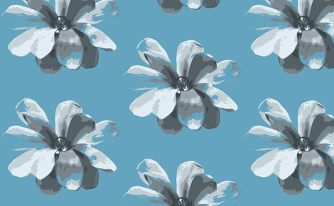 Magnolias on Blue fabric by lesfleursdemimi on Spoonflower - custom fabric
