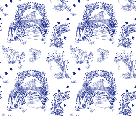 The Bridge. Toile de Jouy fabric by diane555 on Spoonflower - custom fabric