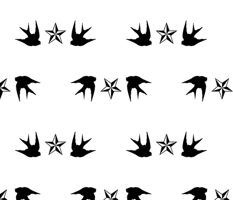 Swallows & Stars fabric by slickandhisruin on Spoonflower - custom fabric