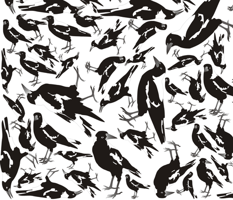 Magpie Multi-Directional fabric by smuk on Spoonflower - custom fabric