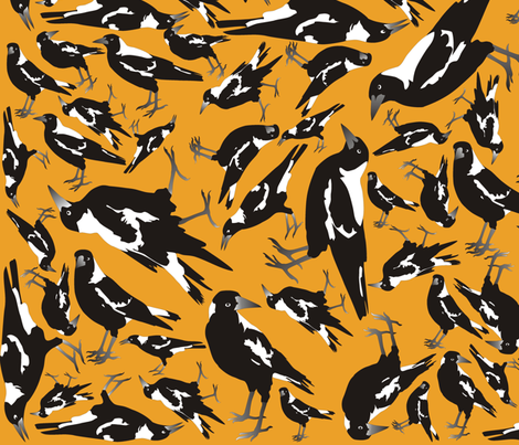 Magpie on Outback Sand fabric by smuk on Spoonflower - custom fabric