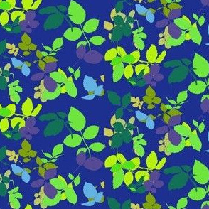 Rose Leaves Ditsy Greens on Blue