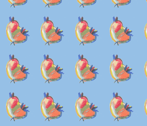 I'm singing from beautiful matters blue fabric by heanne on Spoonflower - custom fabric