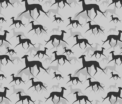 Italian Greyhound in grey fabric by lobitos on Spoonflower - custom fabric