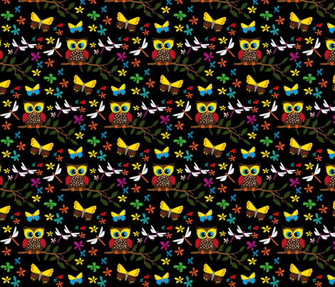 Black owl fabric by ljadas_design on Spoonflower - custom fabric