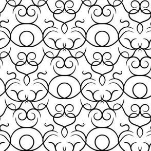 Scrolls design - white and black