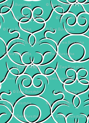 Scrolls design - turquoise w/ shadow