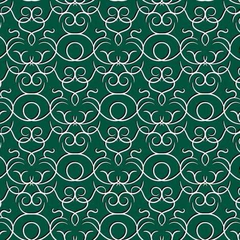 scrolls dark green w/ shadow fabric by ravynka on Spoonflower - custom fabric