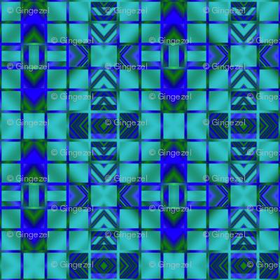 Lagoon Blue Digital Mosaic © Gingezel™ 2013