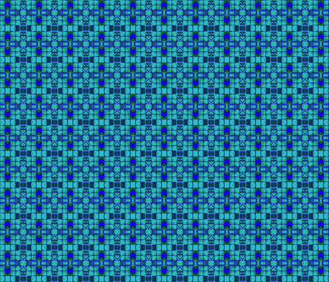 Lagoon Blue Digital Mosaic © Gingezel™ 2013 fabric by gingezel on Spoonflower - custom fabric
