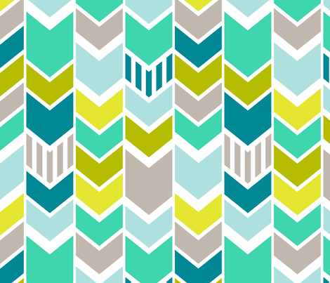 Mod Blue Chevron Large Scale fabric by mrshervi on Spoonflower - custom fabric