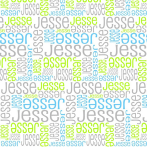 Personalised Name Fabric - Lime Grey Blue