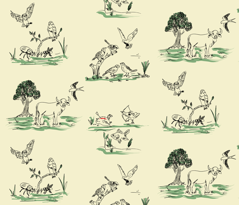 Who Killed Cock Robin? fabric by ebygomm on Spoonflower - custom fabric