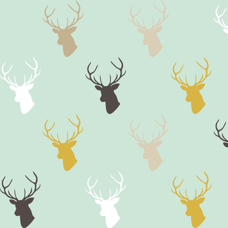 Deer In Mint half scale fabric by mrshervi on Spoonflower - custom fabric