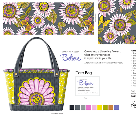 tote_bag_believe_grey2 fabric by mindsthatcreate on Spoonflower - custom fabric