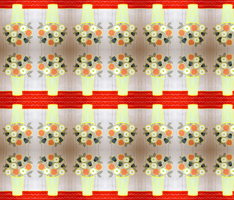 Red, pink and yellow bouquet fabric by tumblewild on Spoonflower - custom fabric