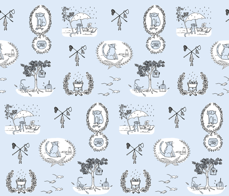 'Bad Kitty' Toile (blue) fabric by pattyryboltdesigns on Spoonflower - custom fabric