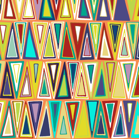 tangerine triangles fabric by scrummy on Spoonflower - custom fabric