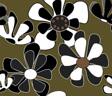 flower ocean gold fabric by kaija on Spoonflower - custom fabric